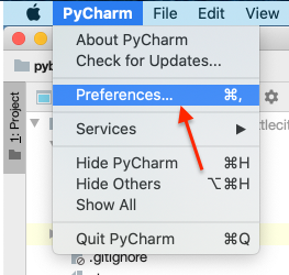 Preferences PyCharm на Mac