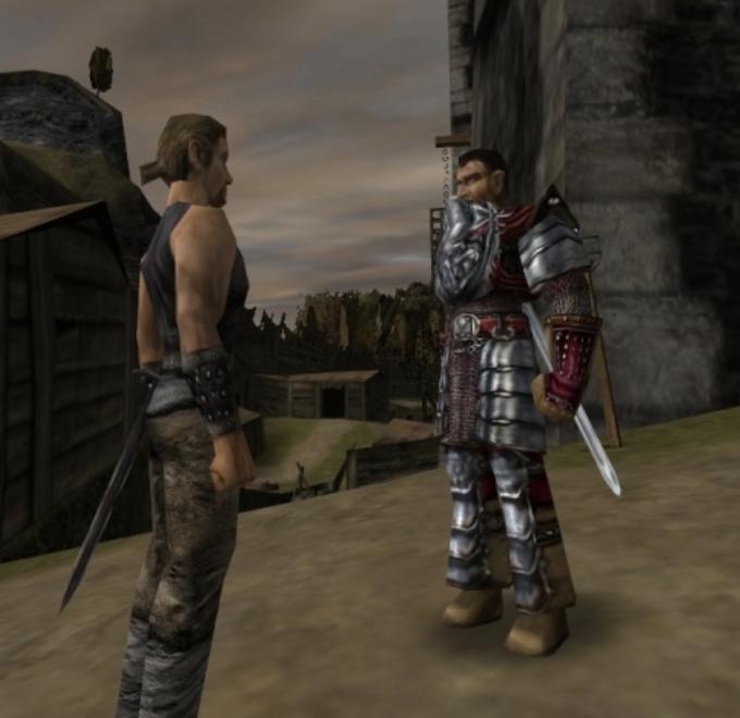 Скрин из Готики 1: страж не пускает в замок героя
