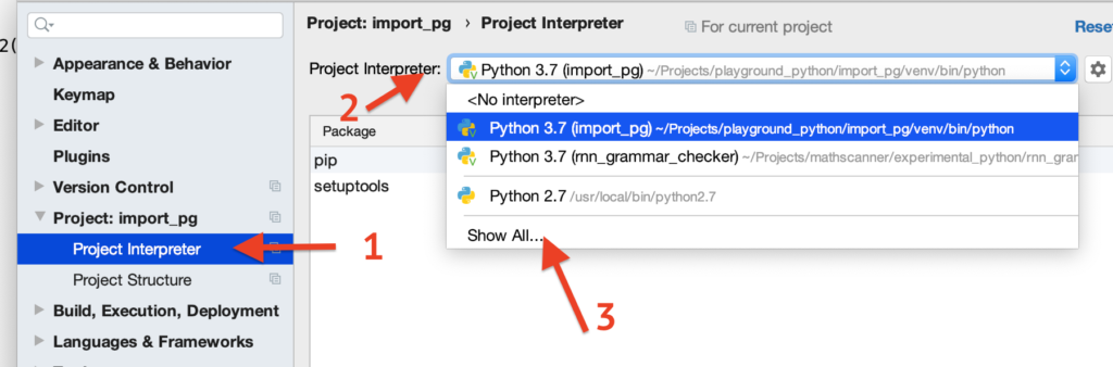 project interpreter - show all