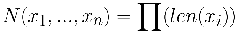 N(x_1, ..., x_n) = \prod (len(x_i))