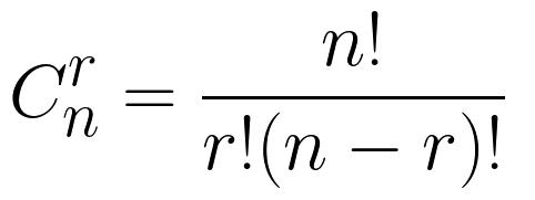 C^r_n=\frac{n!}{r!(n - r)!}